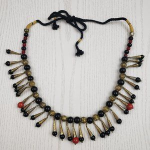 Vintage Glass Metal Bead Belly Dance Tribal Belt
